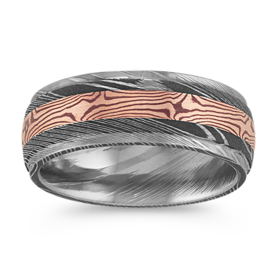 Contemporary Damascus Steel Ring with 14k Rose Gold Accent (8mm)