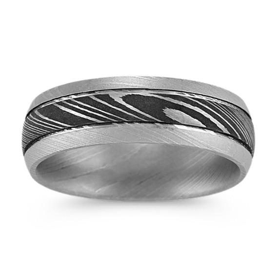 Contemporary Damascus Steel Ring with Texture Accent (7mm)