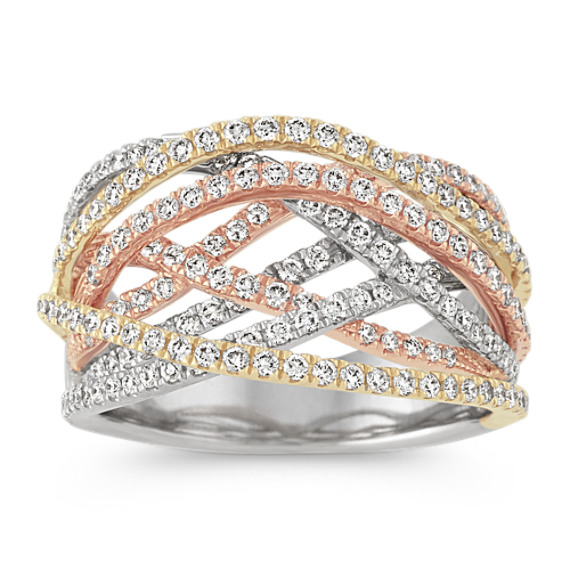 Contemporary Diamond Crisscross Ring in 14k Yellow, White and Rose Gold