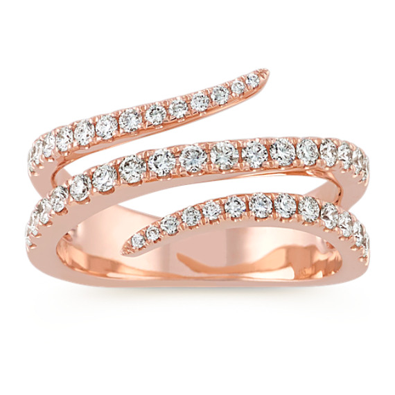 Contemporary Diamond Ring in 14k Rose Gold