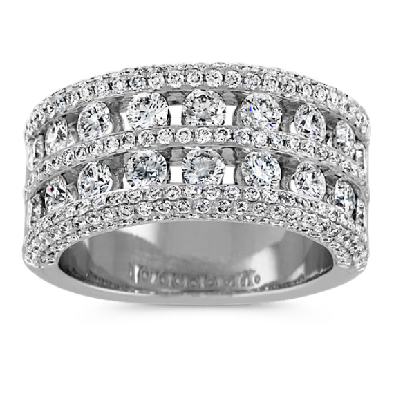 Contemporary Diamond Ring in 14k White Gold