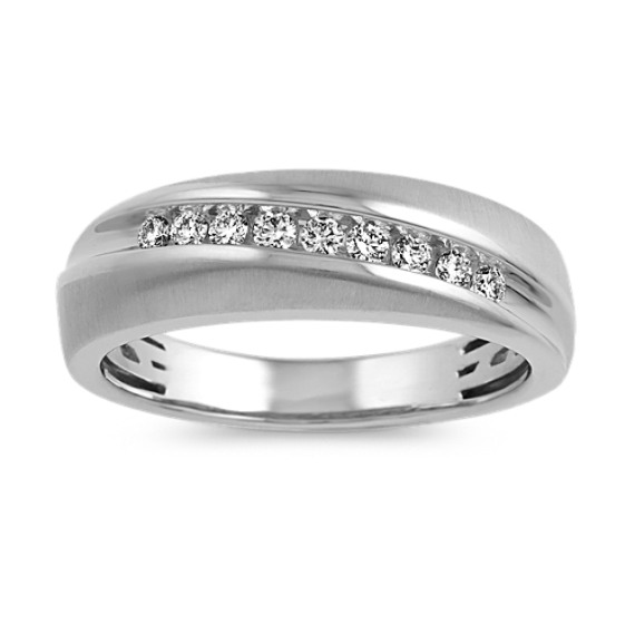Contemporary Diamond Ring with Brushed Finish (6mm)