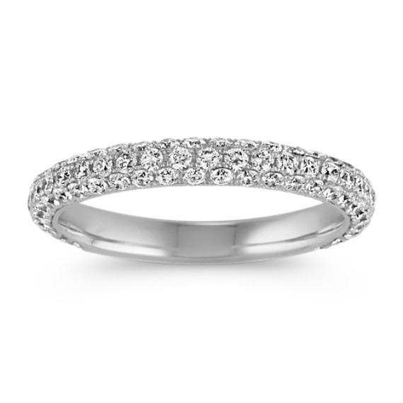 Contemporary Diamond Wedding Band with Pave