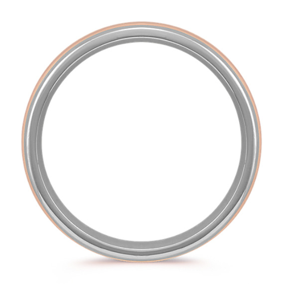 Contemporary Mens Ring in 14k White and Rose Gold (7 mm) image