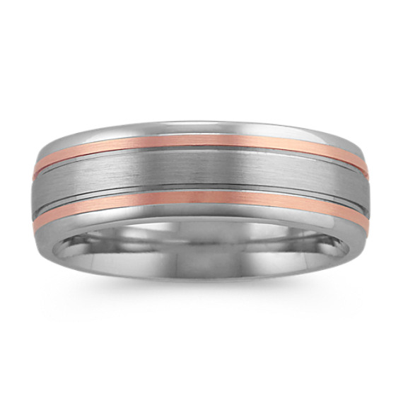 Contemporary Mens Ring in 14k White and Rose Gold (7 mm)