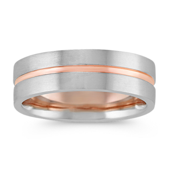 Contemporary Mens Wedding Band in 14k White and Rose Gold (7mm)