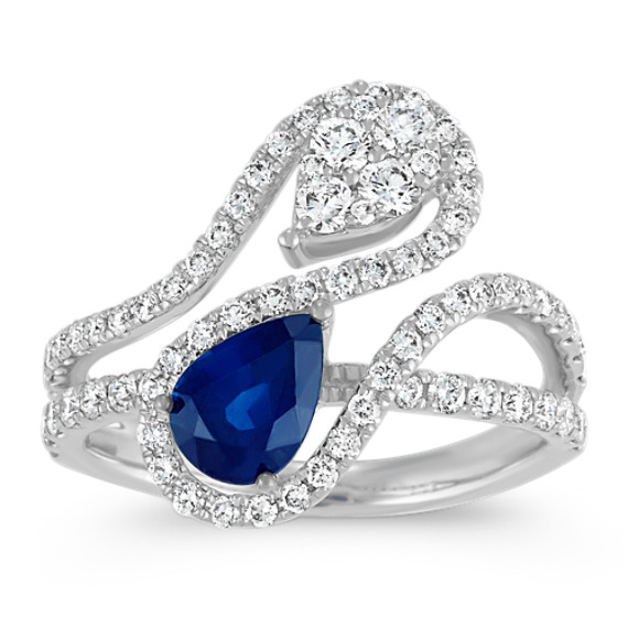 Contemporary Pear-Shaped Traditional Blue Sapphire and Diamond Ring