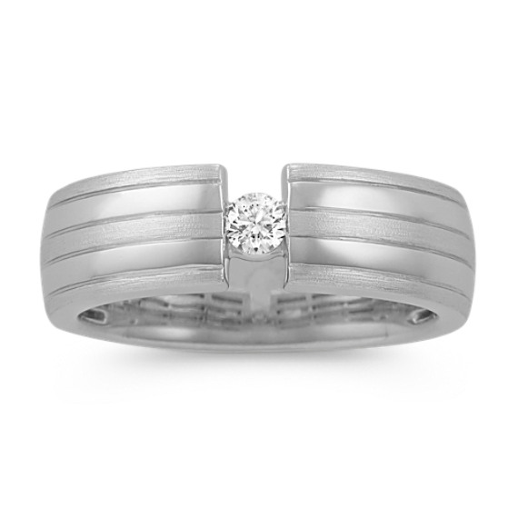 Contemporary Round Diamond Mens Ring in 14k White Gold (7mm)
