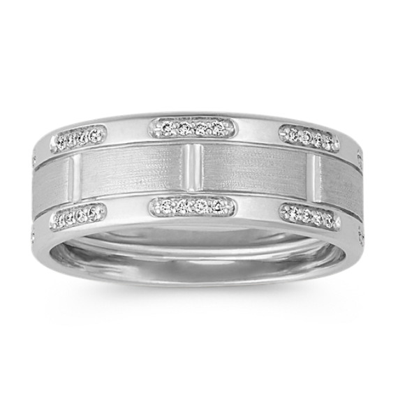 Contemporary Round Diamond Mens Ring in 14k White Gold (8mm)