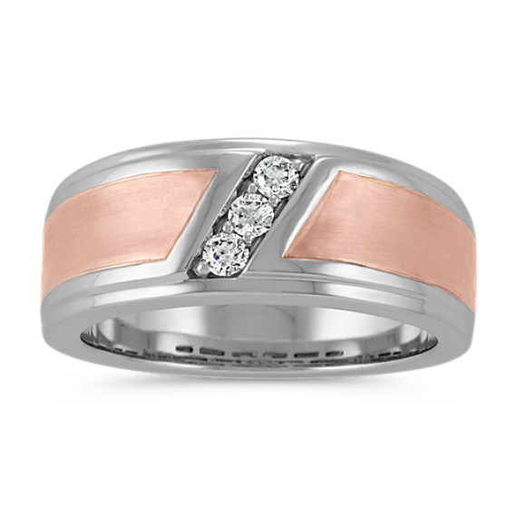 Contemporary Round Diamond Mens Ring in 14k White and Rose Gold (9mm)