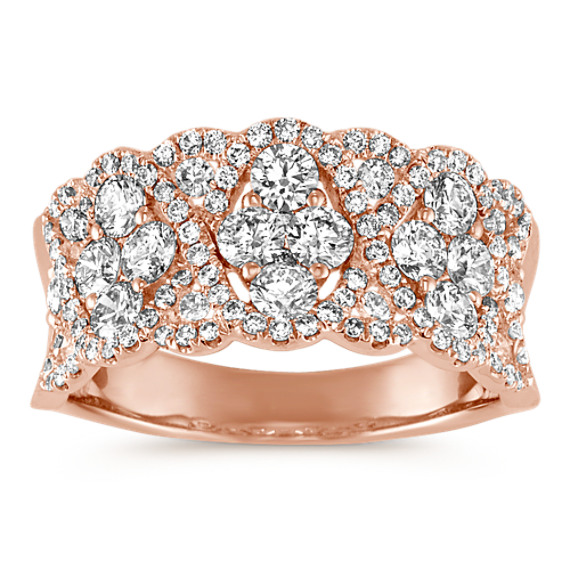 Contemporary Round Diamond Ring in 14k Rose Gold