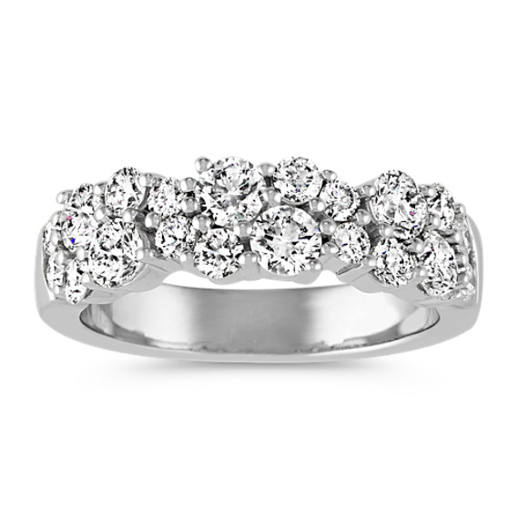 Contemporary Round Diamond Ring in 14k White Gold
