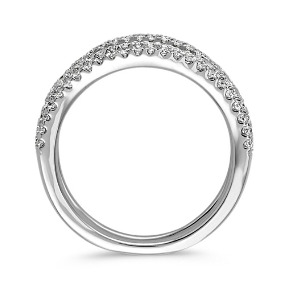Contour Diamond Engagement Ring Guard in 14k White Gold image