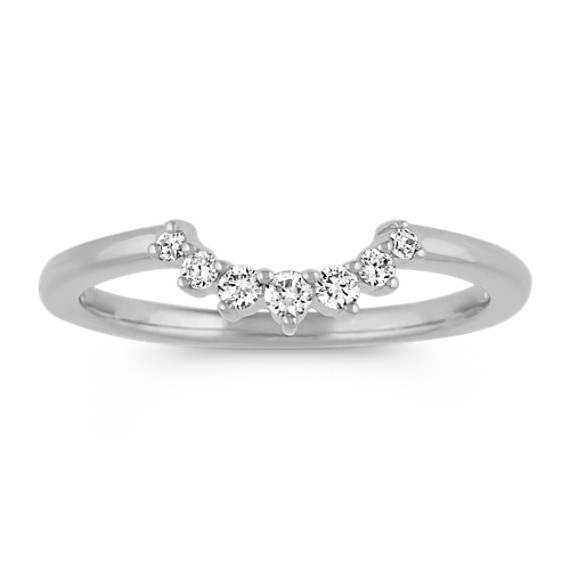 Contour Diamond Wedding Band in 14k White Gold