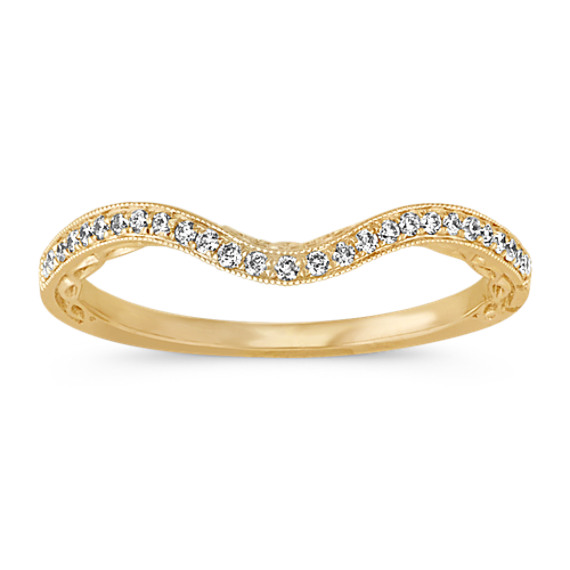 Contour Diamond Wedding Band in 14k Yellow Gold