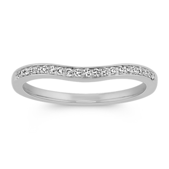 Contour Diamond Wedding Band with Pave Setting