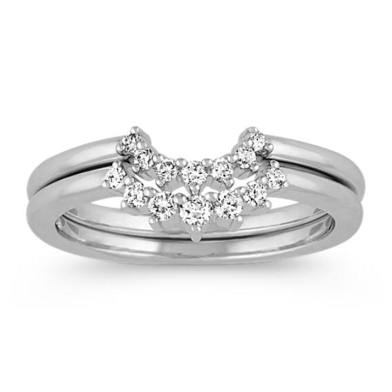 Contour Diamond Wedding Bands in 14k White Gold