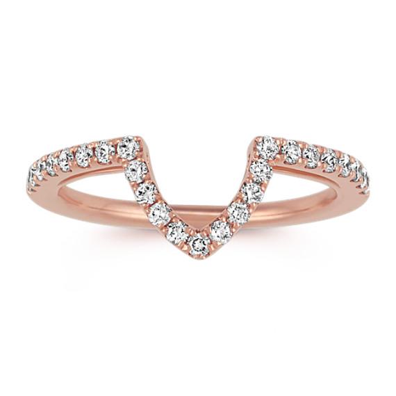 Contoured Diamond Wedding Band in 14k Rose Gold