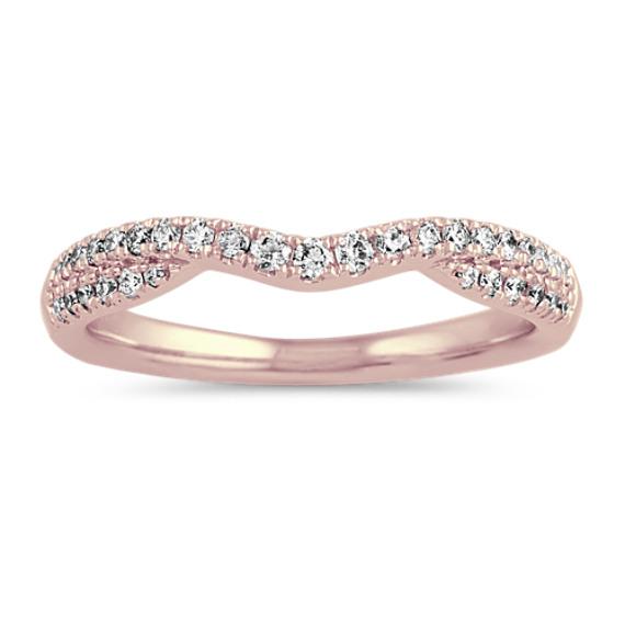 Contoured Pave-Set Diamond Wedding Band in 14k Rose Gold
