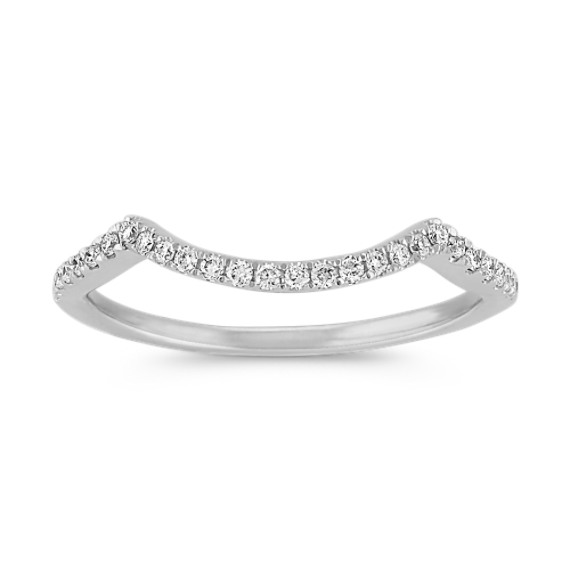 Contoured Round Diamond Wedding Band