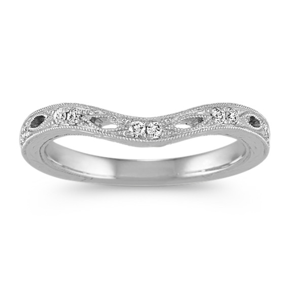 Contoured Vintage Diamond Wedding Band
