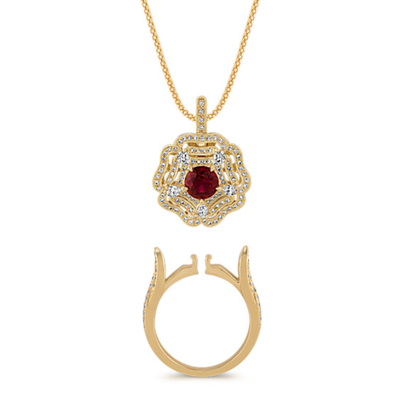 Convertible Diamond and Ruby Ring and Pendant (20 in)