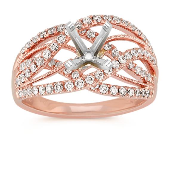 Crisscross Diamond Ring in 14k Rose Gold