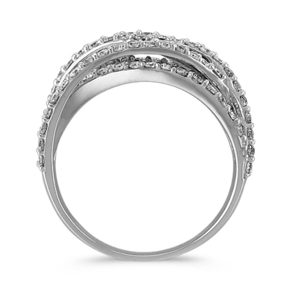 Crisscross Diamond Ring with Pave Setting image