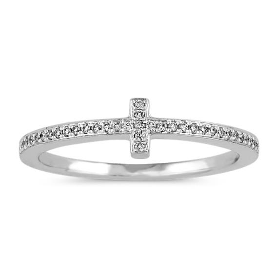 Crossed Pave-Set Diamond Ring in 14k White Gold