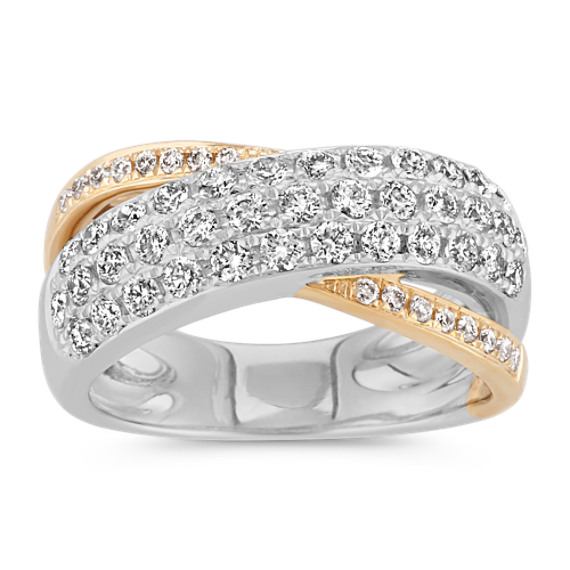 Crossover Round Diamond Ring in 14k Two-Tone Gold