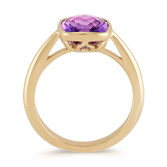 Cushion Cut Amethyst Ring in 14k Yellow Gold image