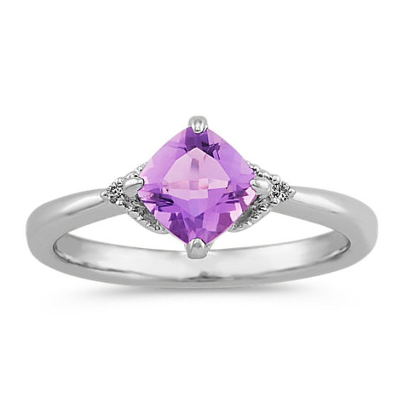 Cushion Cut Amethyst and Round Diamond Ring