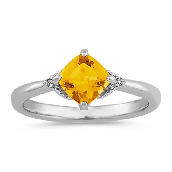 Cushion Cut Citrine and Round Diamond Ring