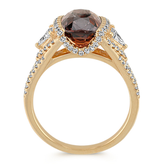 Cushion Cut Cognac Sapphire, Trillion and Round Diamond Fashion Ring image