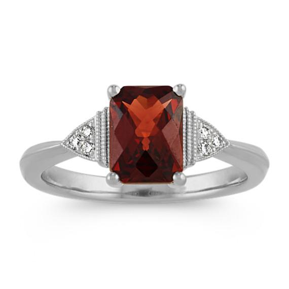 Cushion Cut Garnet and Diamond Ring in 14k White Gold