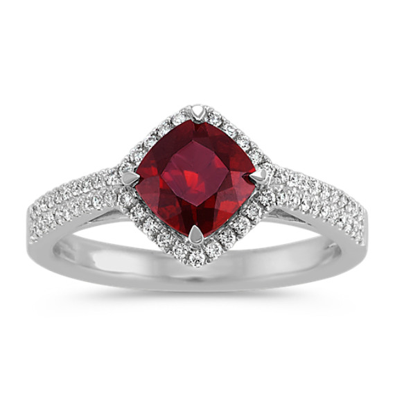 Cushion Cut Garnet and Diamond Ring in Sterling Silver