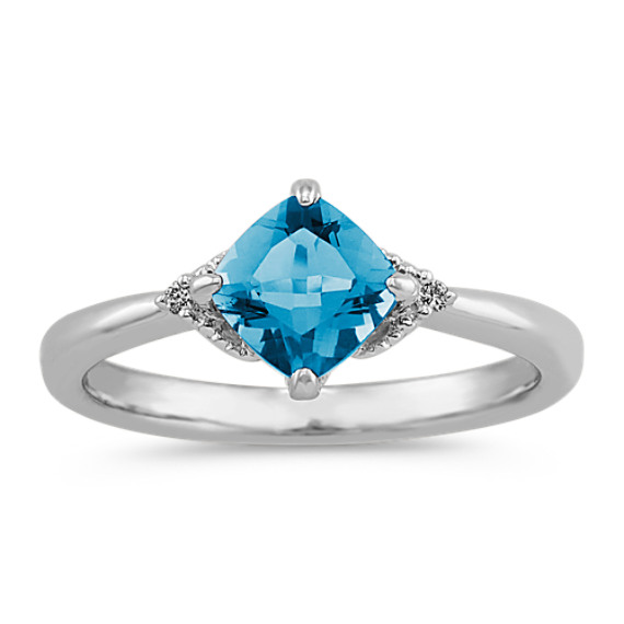 Cushion Cut London Blue Topaz & Round Diamond Ring