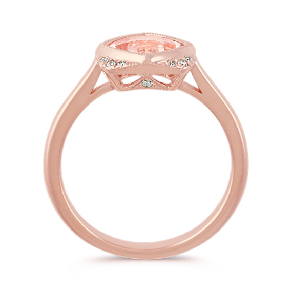 Cushion Cut Morganite and Round Diamond 14k Rose Gold Ring image
