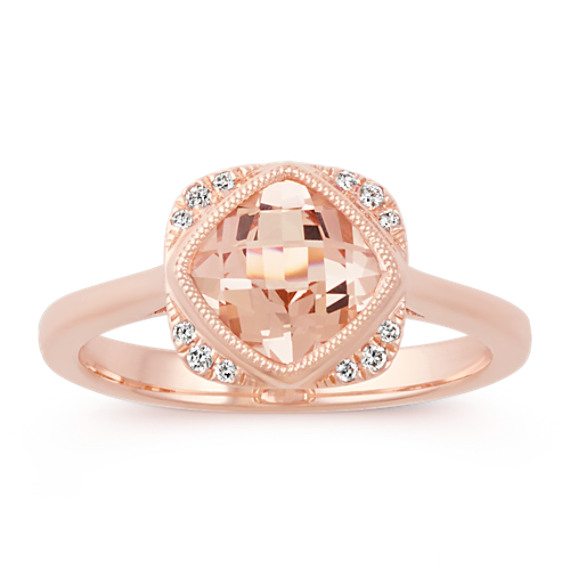 Cushion Cut Morganite and Round Diamond 14k Rose Gold Ring Shane Co