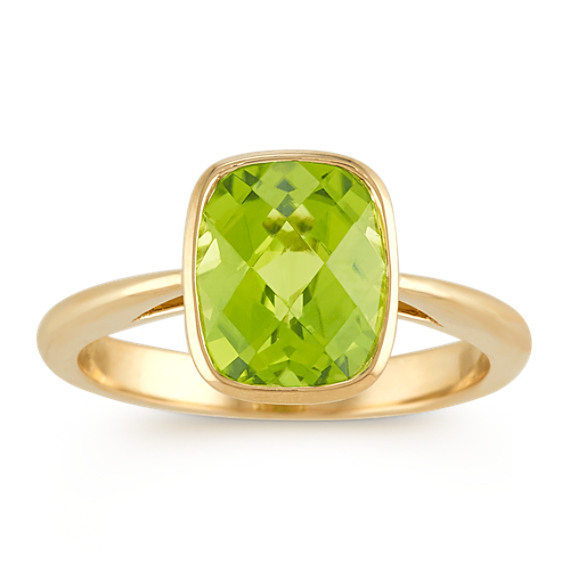 Cushion Cut Peridot Ring In 14k Yellow Gold