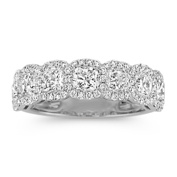 Cushion Cut And Round Diamond Halo Wedding Band