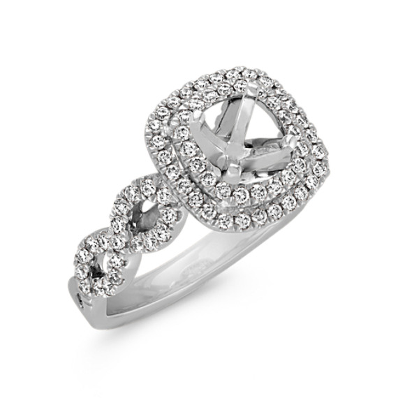 059191a9a7752c Cushion Double Halo Infinity Diamond Engagement Ring in 14k White ...