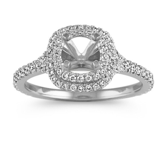 Cushion Double Halo Pave-Set Diamond Platinum Engagement Ring