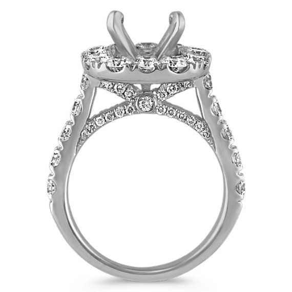 Cushion Halo Engagement Ring with Round Diamond Accent in 14k White Gold image
