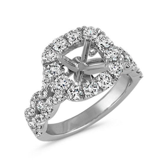 Cushion Halo Swirl Diamond Engagement Ring Shane Co