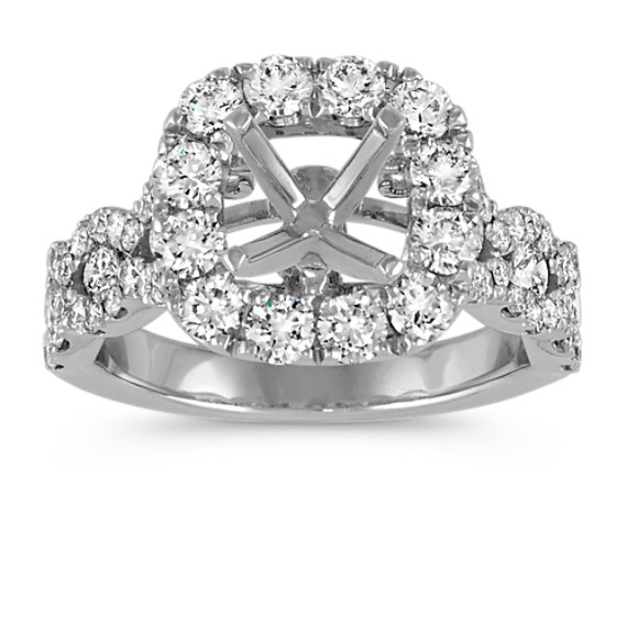 Cushion Halo Swirl Diamond Engagement Ring