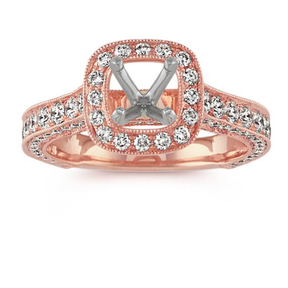 Cushion Halo Vintage Engagement Ring in 14k Rose Gold