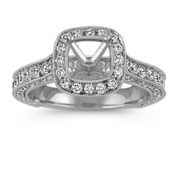 Cushion Halo Vintage Platinum Engagement Ring with Pavé-Set Diamonds