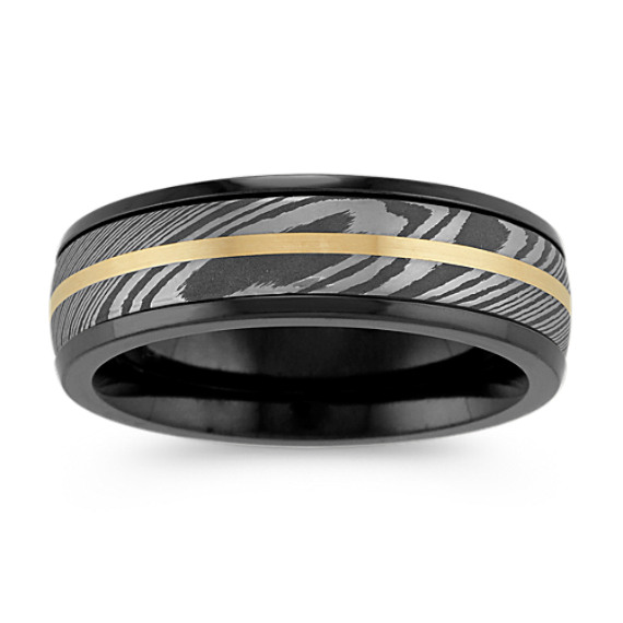 Damascus Steel, Black Zirconium and 14k Yellow Gold Mens Ring (7mm)