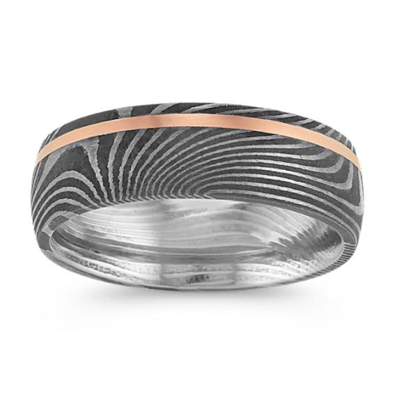 Damascus Steel & 14k Rose Gold Ring (7mm)